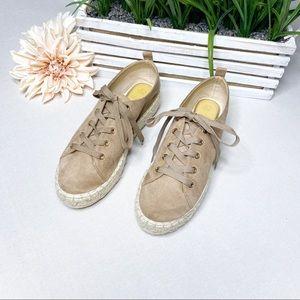 Bella Marie Tan Suede Espadrille Platform Sneakers